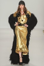 gold dress, black, faux fur, long coat, new your fashion week, sparkly dress