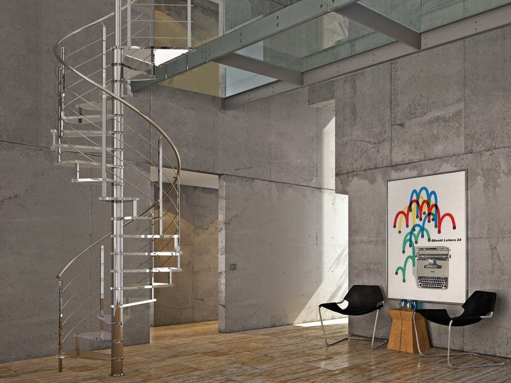 metal spiral stairs with concrete wall