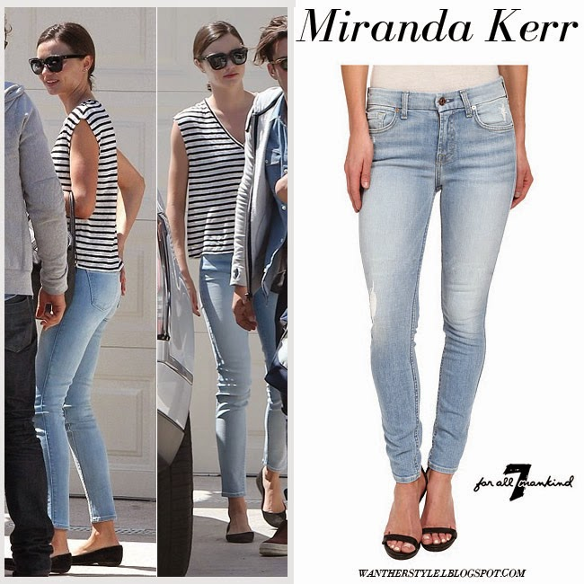 Miranda Kerr in light blue skinny jeans and striped top spring summer streetstyle inspiration