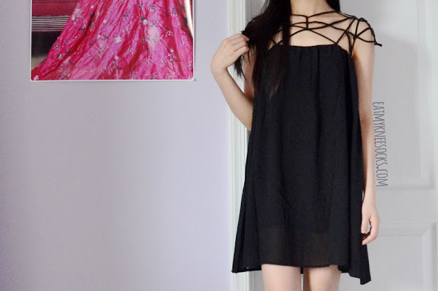 More photos of the flowy caged asymmetric-hem shift dress from Romwe.