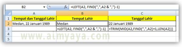 Gambar: Cara mengambil tempat dan tanggal lahir di Microsoft Excel