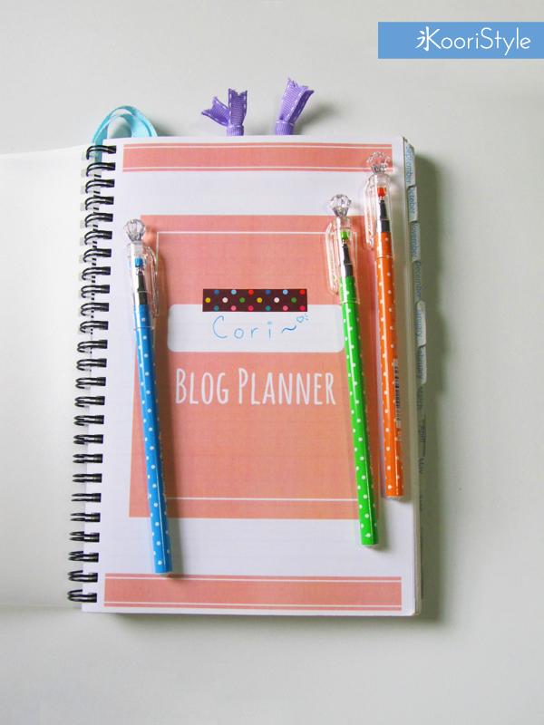 Koori KooriStyle Kawaii Cute Blog Blogging Blogger Planner Printable PDF Etsy Decoration Monthly Weekly Statistics