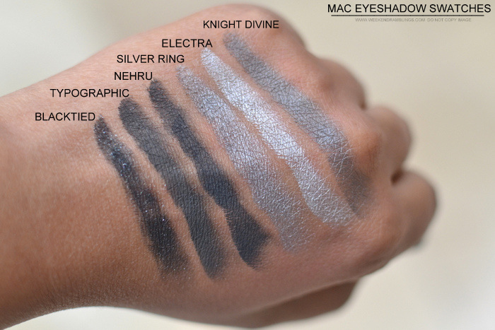MAC Eyeshadow Swatches NW40 NC45 Blacktied Typographic Nehru Silver Ring Electra Knight Divine
