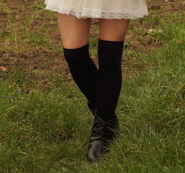 Dress in winter with over the knee socks