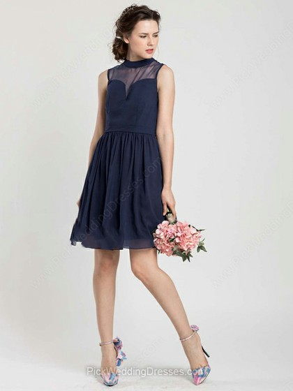 Short/Mini Dark Navy Chiffon Tulle Perfect High Neck Bridesmaid Dress