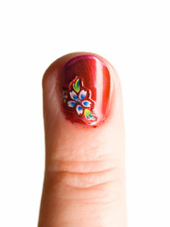 Colorful flower manicure