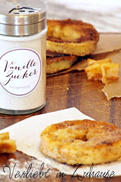 Panierte Apfelringe Bild hausgemachter Vanillezucker