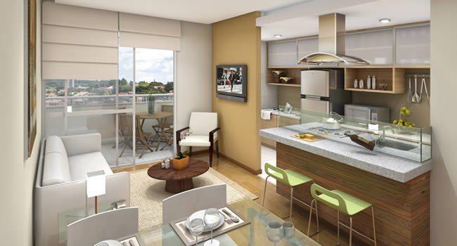 Sala Pequena Com Cozinha Americana ~ Cozinha e sala conjugada  ideias de decoração  Reciclar e Decorar