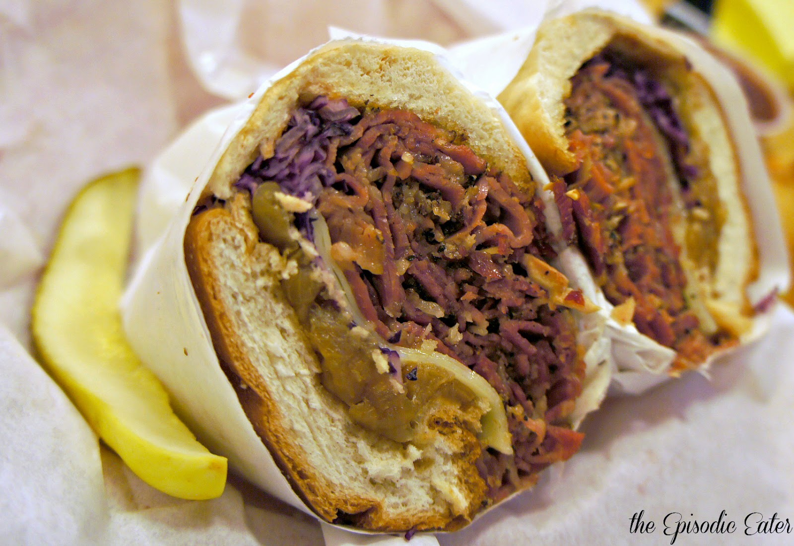 Cured Pastrami served with Red Cabbage Coleslaw, Caramelized Onions ...