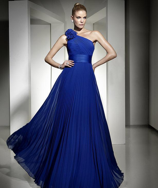 Uzun pileli saks mavisi gece elbisesi abiye elbise