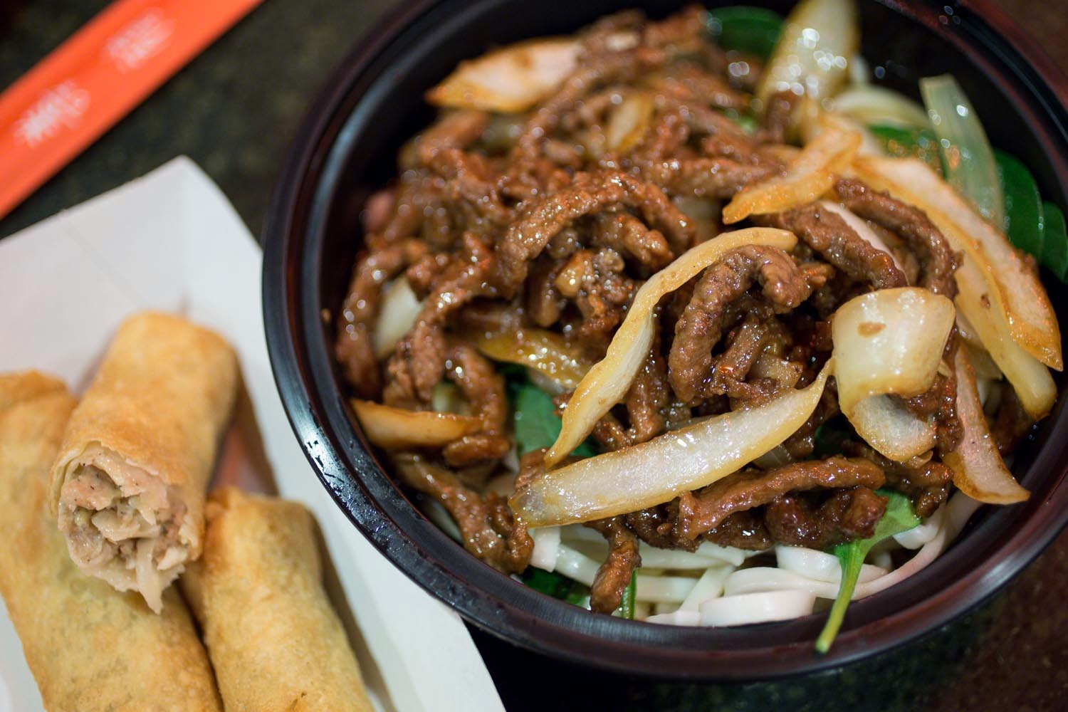 Epcot: Lotus Blossom Cafe- Beef Noodles and Eggrolls