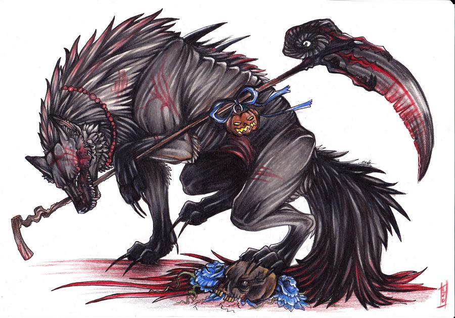 Black winged wolf