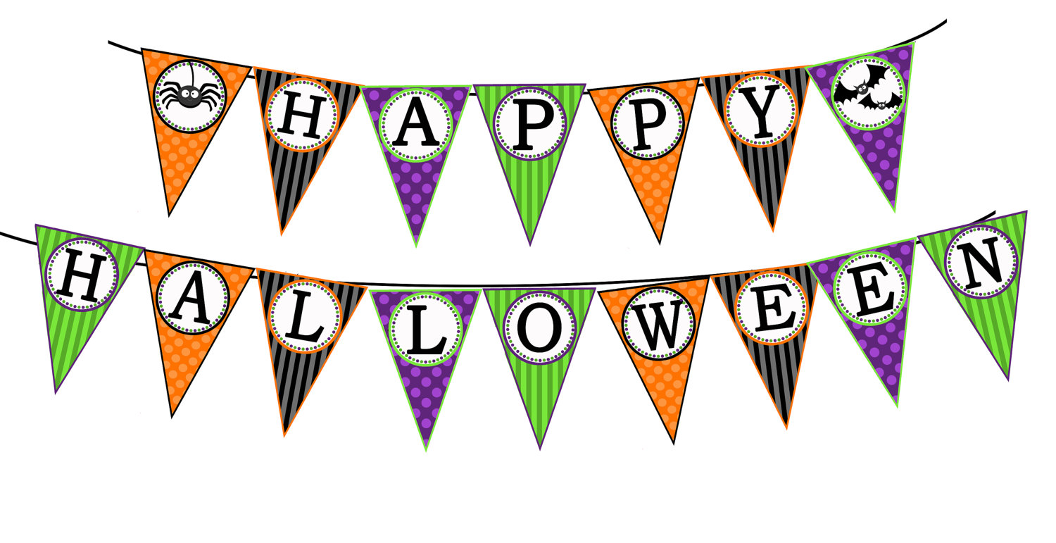 It is a graphic of Crush Happy Halloween Banner Printable