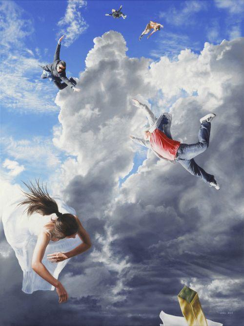 Joel Rea pintura hiper-realista surreal cães gigantes caindo céu Ambição cega