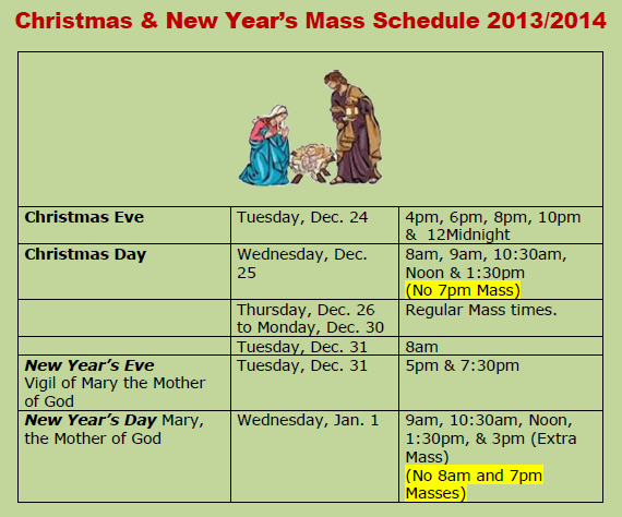 CHRISTMAS SEASON MASS SCHEDULE