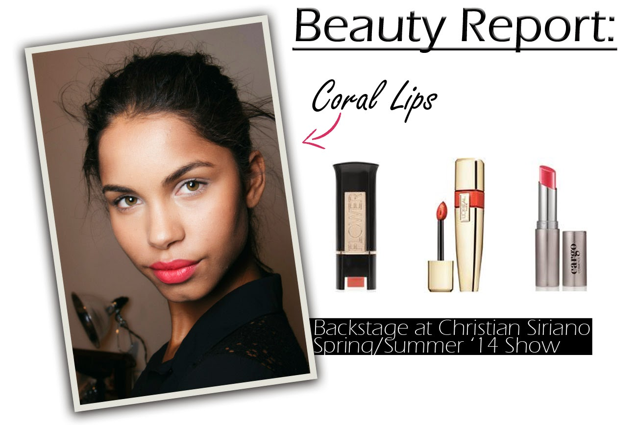 Beauty Report: Coral Lips. Get the Look:  FLOWER Kiss Stick High Shine Lip Color in Coral,  L'Oréal Paris Colour Caresse Wet Shine Stain in Coral, CARGO Essential Lip Color in Sedona