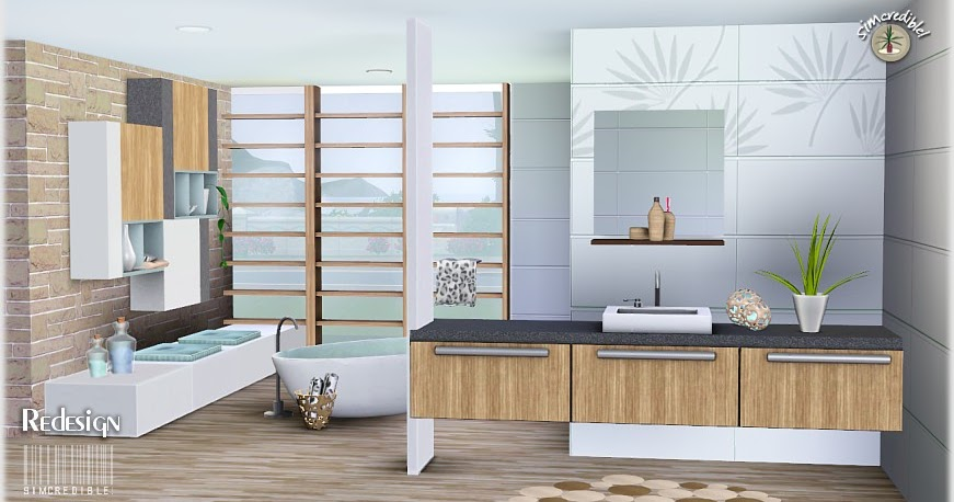 My sims 3 blog redesign bathroom set by simcredible designs for Redesign my bathroom