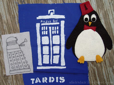 felt Dalek, TARDIS print, eleventh Doctor as a penguin