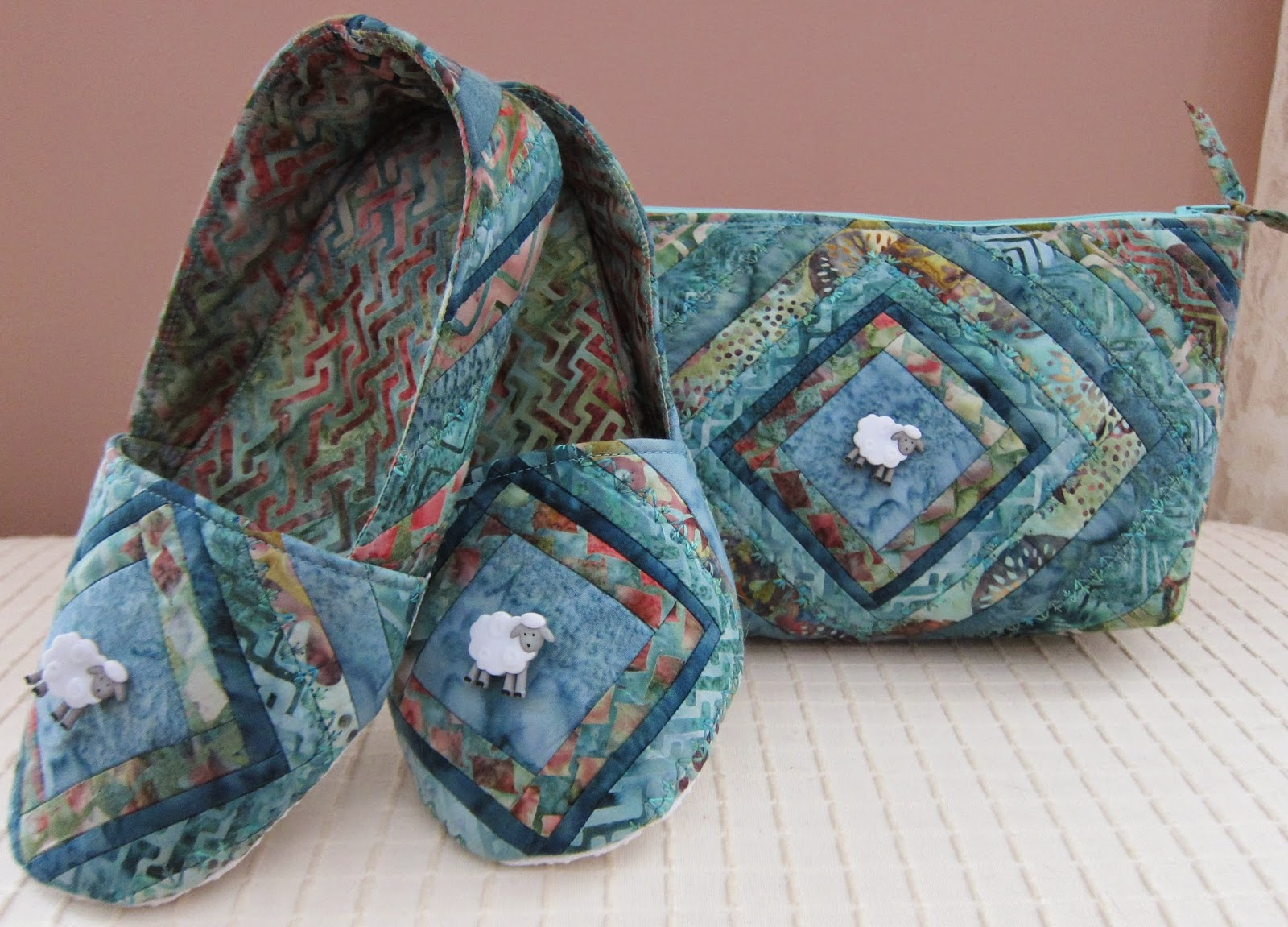 Cool Cats and Quilts: Quilted Mama Bear Slippers & Cosmetic Bag, New Pattern from Cool Cat Creations
