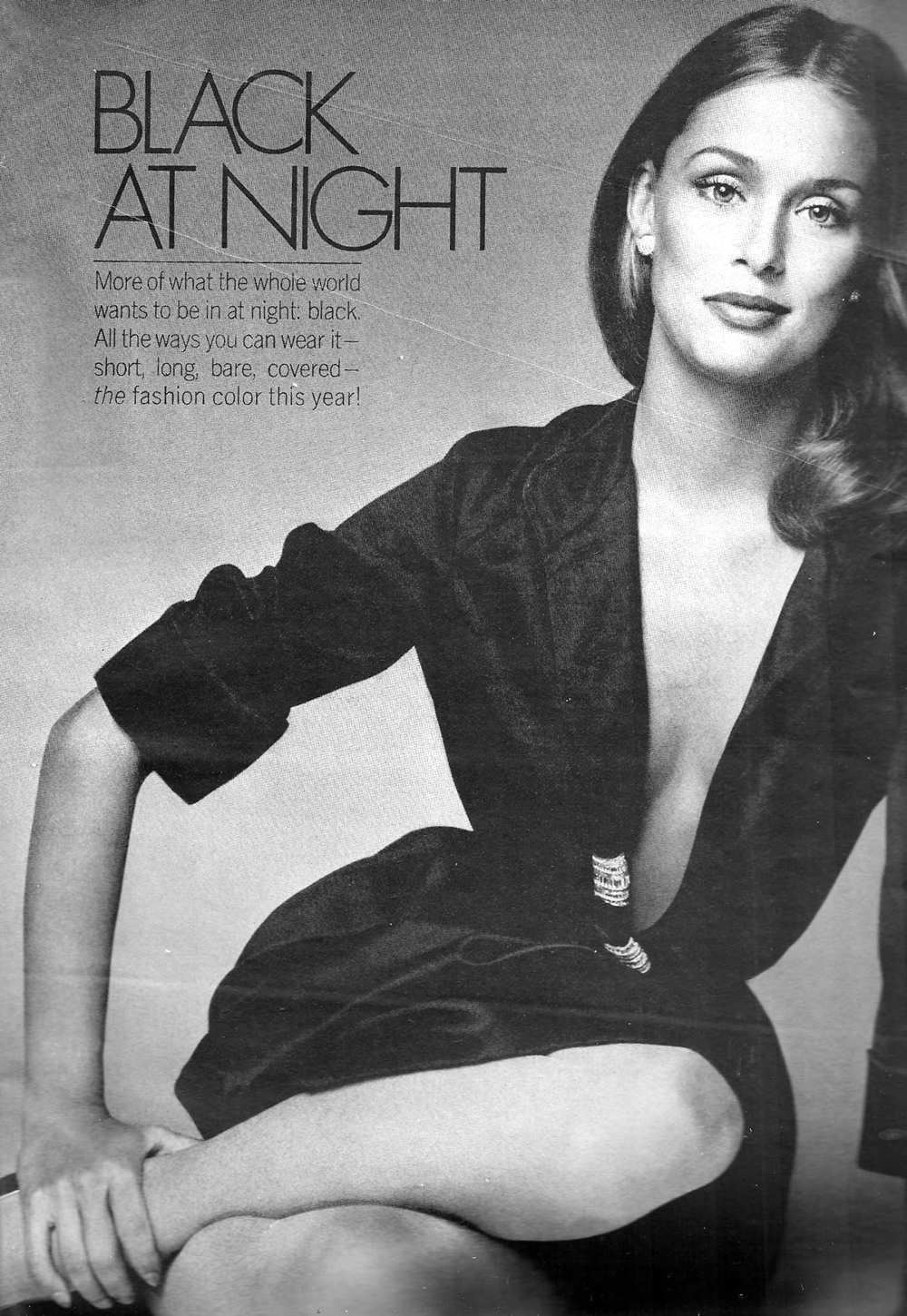 Turn your classic shirt dress into an evening LBD... a la Lauren Hutton in Vogue US October 1973 / via fashioned by love british fashion blog