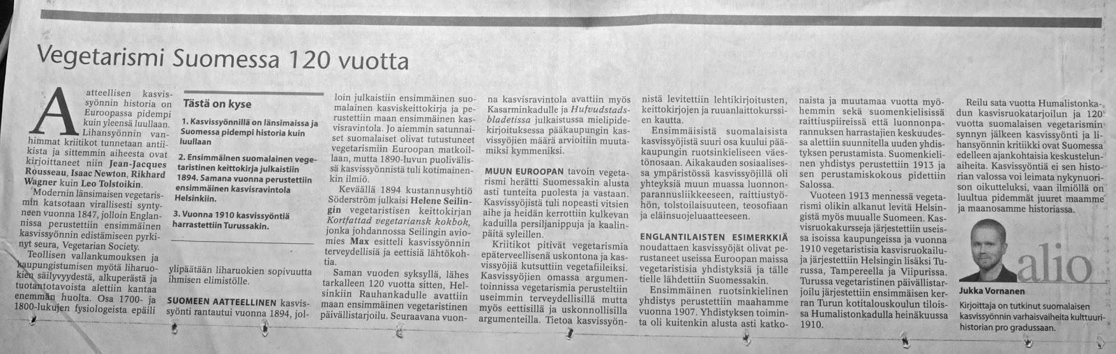 Luonnostelua Aatteellinen Kasvissynti Tuli Suomeen 1894