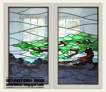 stained glass window, stained glass in the interior