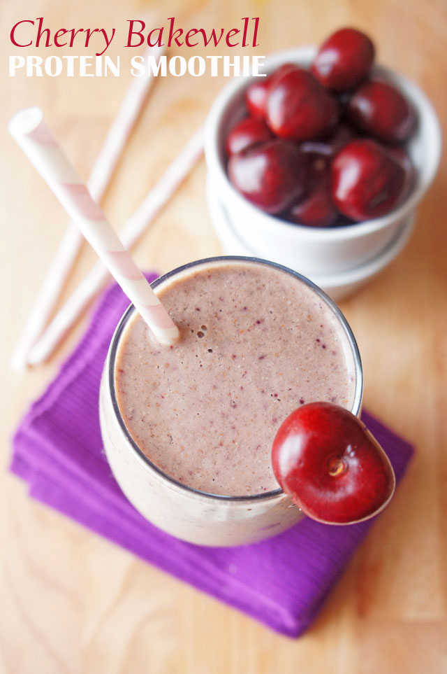 A smoothie that tastes just like a cherry Bakewell tart in a glass. It has a natural protein kick from almond butter, chia seeds and flaxseed. It is paleo and vegan friendly, gluten, wheat and dairy free. | from the Road to Less Cake | #paleo #vegan #vegetarian #smoothie #glutenfree #breakfast #dairyfree