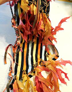 Pumpkin Queen Folk Art Doll Leaf Skirt by Jeanne Fry