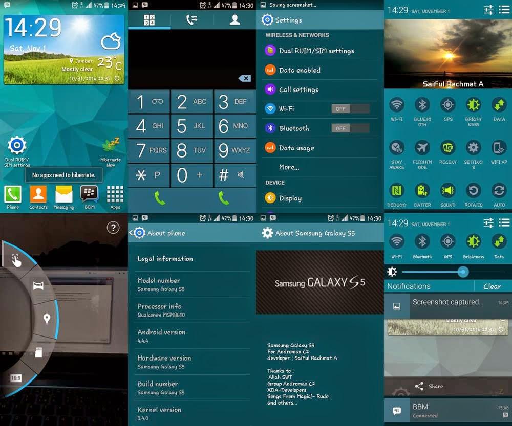 Custom ROM Samsung Galaxy S5 for Smartfren Andromax C Terbaru | Kitkat Asli!