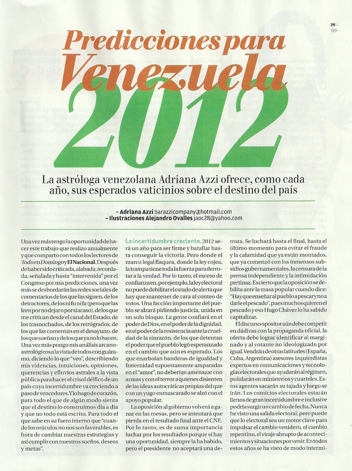 Predicciones para Venezuela 2012 - Adriana Azzi