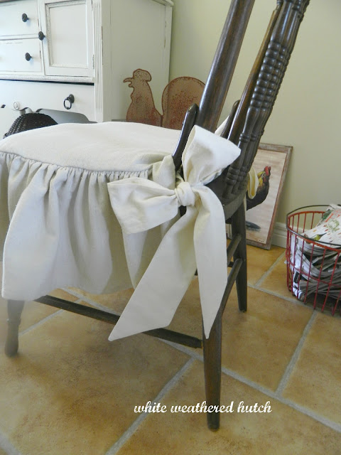 White Weathered Hutch Country Chic Ruffled Drop Cloth Chair Cushions