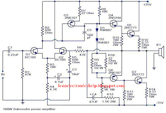 100 Watt amplifier circuit diagram