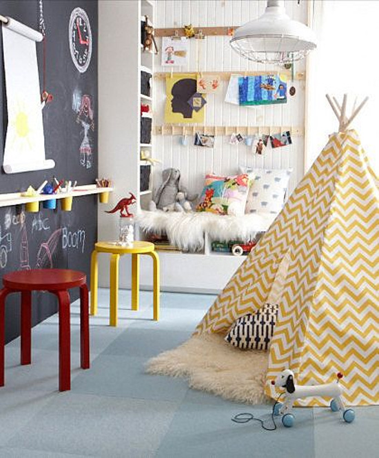 Belle maison kids spaces playroom workroom inspiration for Living room playroom inspiration