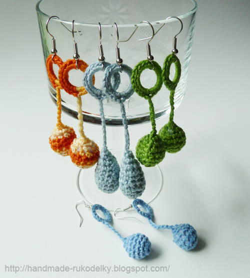 Hand Made Rukodelky Crocheted Tear Drop And Balls Earrings Free