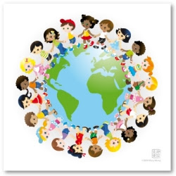FRIENDSHIP GLOBE ART + BORDER GRAPHICS for MulticulturalProjects