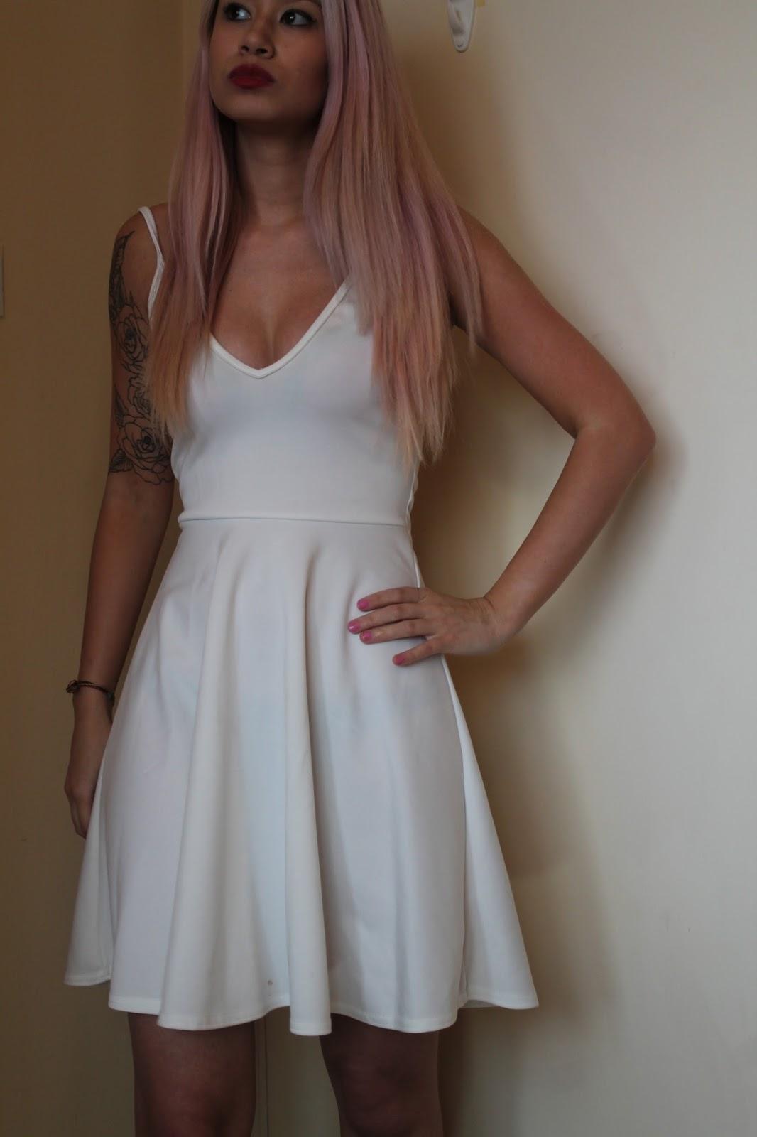 Boohoo White Skater Dress