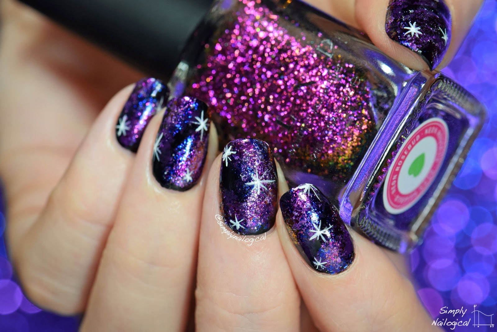 Simply Nailogical: Dark galaxy nails using ultra-chrome flakies
