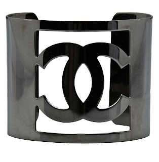 "Vintage Chanel metal cuff bracelet with ""CC"" logo carved out"