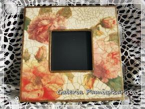 Lustro Drewniane Ozdobne Kwiaty Decoupage Róża Barok rękodzieło