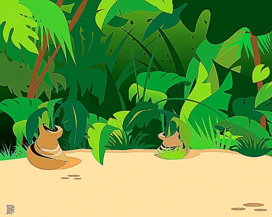 Planting Trees Cartoon Safari Animal Cartoon Jungle Plants Wallpapers at 1920 1080