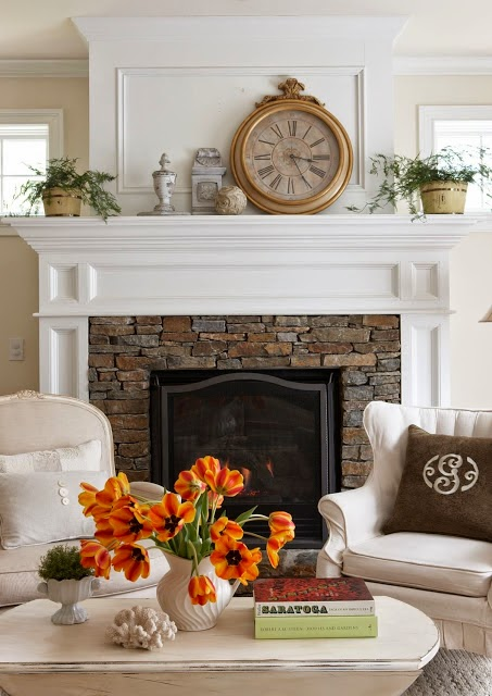 Fireplace Options - Styles I Love - White molding with stacked stone surround