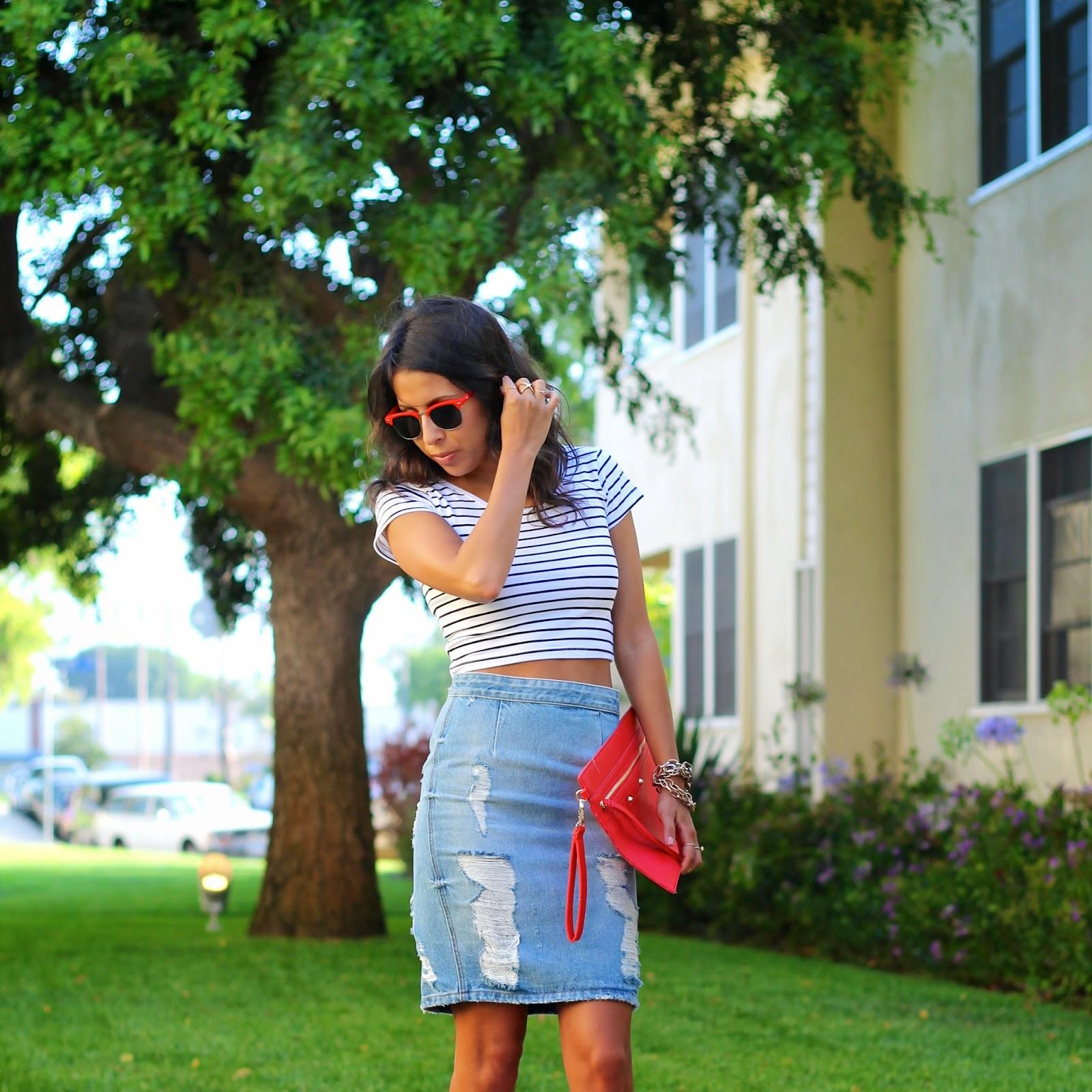 denim skirt outfit, crop top, zara, target style