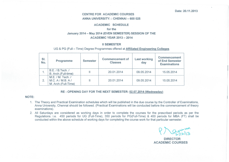 Anna university updates and results 2013 for 5th sem time table 2014