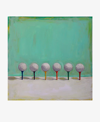 painting of six golf balls on colored tees
