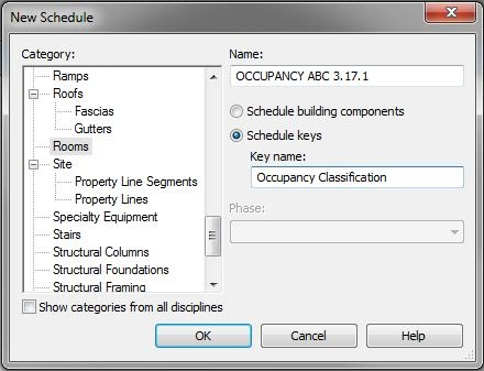 Bimformation key schedule for determining occupancy for Table 6 2 occupant load