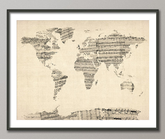 image Map of the World Map from Old Sheet Music Art Print
