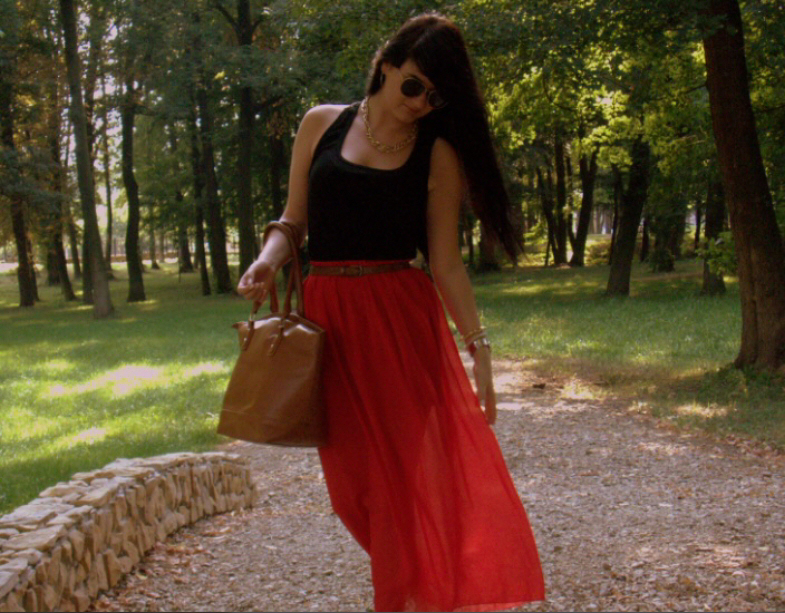 Red maxi skirt..
