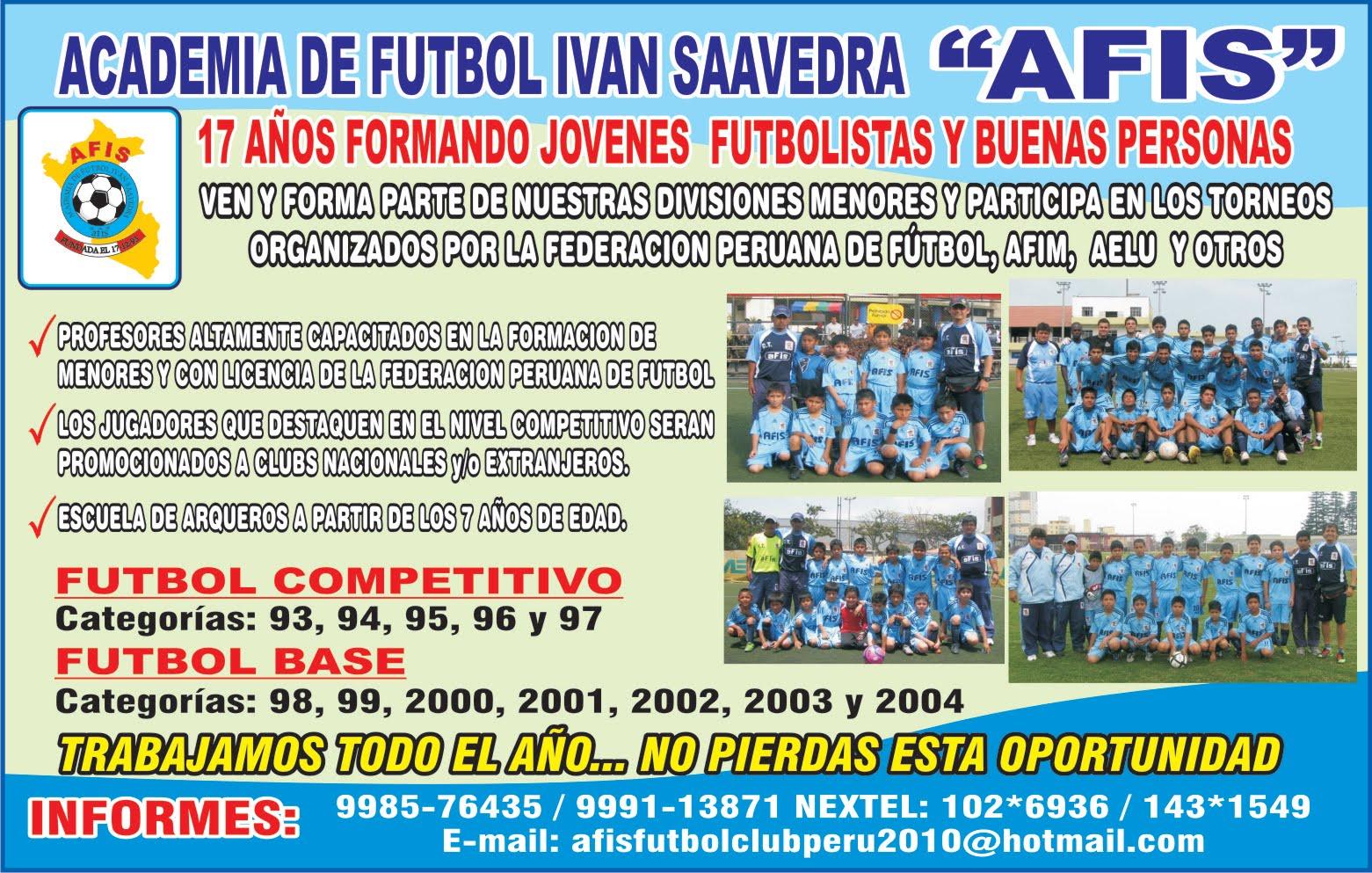 """ACADEMIA DE FUTBOL IVAN SAAVEDRA """"AFIS"""" CLUB COLORADO RUSH SOCCER DE LOS ESTADOS UNIDOS"""