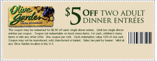 Olive Garden Printable Coupons September 2015