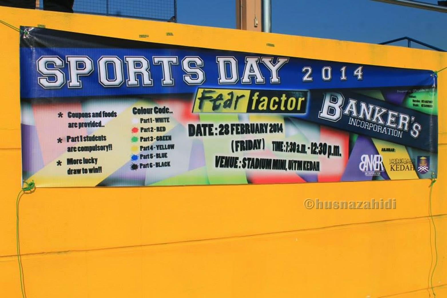 sport day banner, kelab banker, uitm kedah